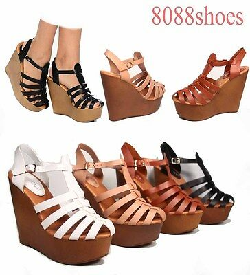Women's Fashion T-Strap Caged Chic Wedge Gladiator Sandals Shoes Size 5 - 10 NEW