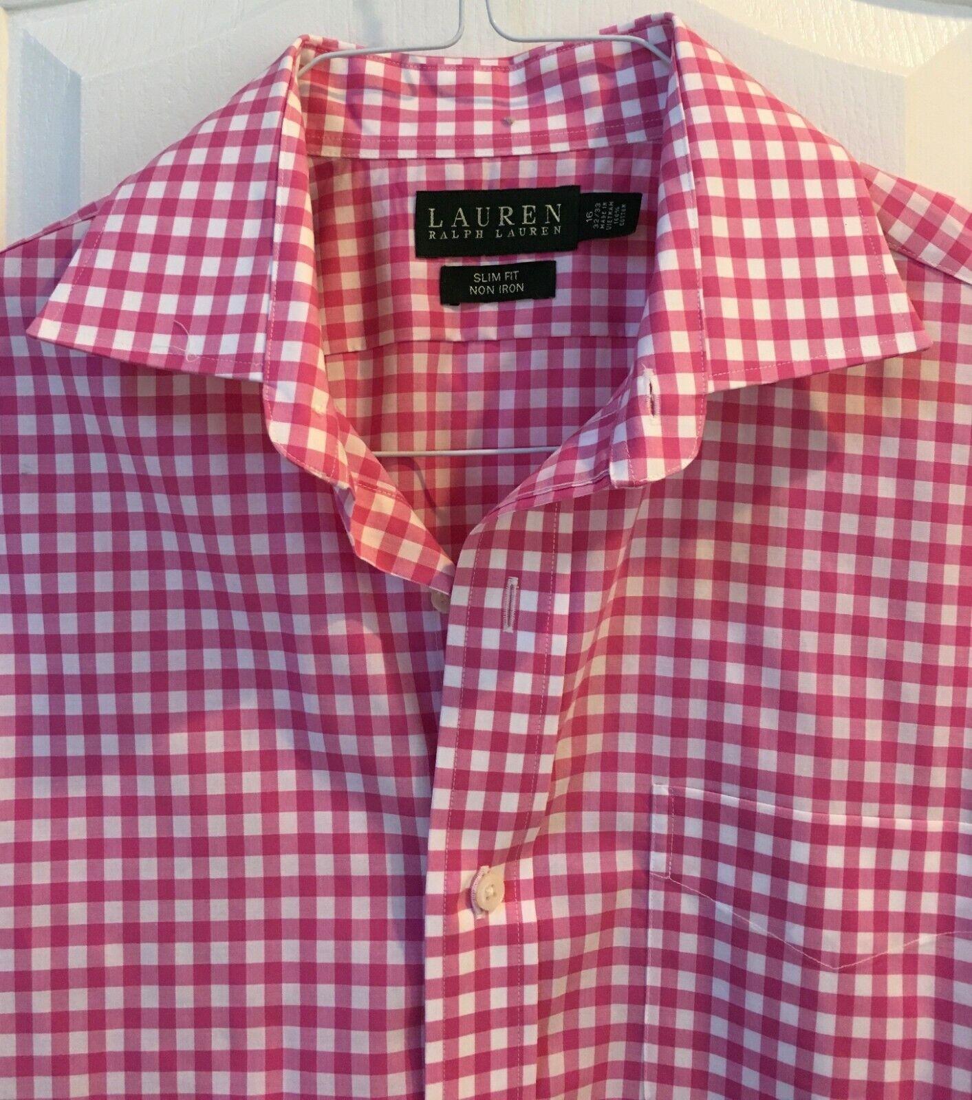 Lauren by Ralph Lauren Men's pink gingham long-sleeve button-down shirt