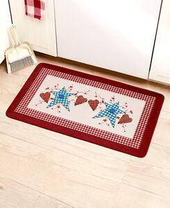 Primitive Hearts Stars Kitchen Mat Patchwork Berries Folk Art Country Bath Rug 626850291803 Ebay