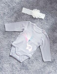 Baby-Girl-Bodysuit-Long-Sleeve-Grey-68cm-3-6-months-Cute-Elephant