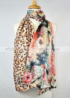 "68/"" Double Design Silk Scarf Wrap Shawl Vivid Floral Print Oil Paint Bright"