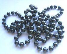 grand collier sautoir perle anthracite nacré imitation fantaisie vintage C1