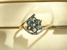 Rare Natural Colour Change Alexandrite & Zircon 10K Y Gold Ring Size R-S/9