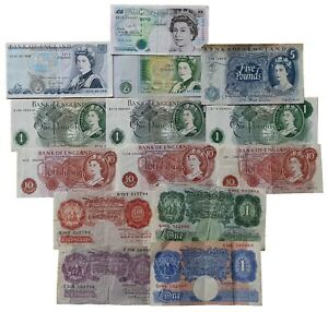 old british bank notes 10 shillings one pound 1 five pounds 5