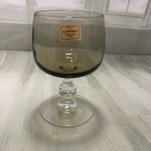One-VINTAGE-RETRO-LUMINARC-FRANCE-FRENCH-SMOKE-SMOKED-GLASS