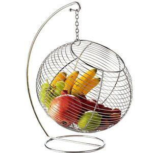 corbeille fruits boule suspendue en m tal presentoir legumes deco cuisine ebay. Black Bedroom Furniture Sets. Home Design Ideas