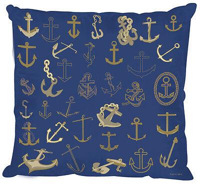 Deko Kissen mit hochwertigem maritimen Motiv 40x40 cm 11823 marine gold