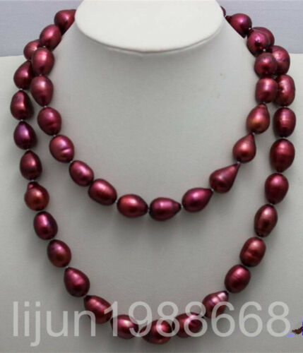 """Red freshwater Cultured  pearl Necklace 10-12mm 34/"""""""