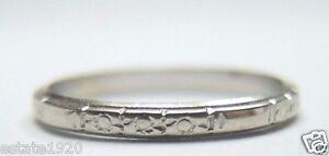Antique-Vintage-Art-Deco-Women-039-s-Wedding-Band-18K-White-Gold-Ring-Size-6-25-UK-M