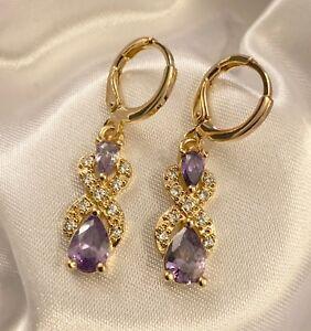 Yellow Gold Filled sim diamonds and smokey quartz drop dangle earrings Boxed