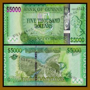 GUYANA 20 50 100 500 1000 5000 DOLLARS ND 2016-18 UNC FULL SET OF 6