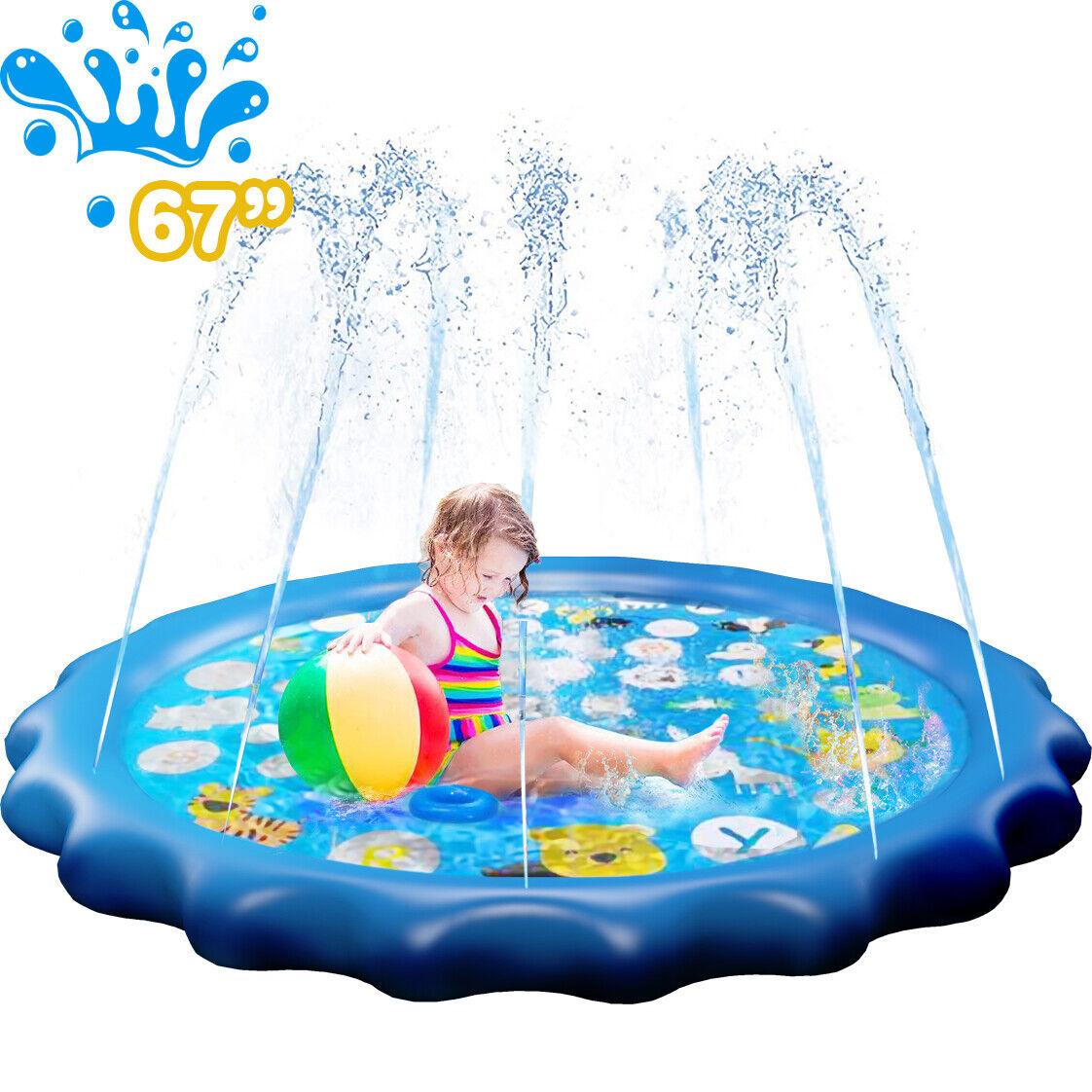 Sprinkler Splash Pad Kids Toddlers 67 inch Water Spray Play Mat Backyard Pool