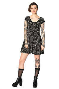 Women-039-s-Black-Gothic-Punk-Emo-Rockabilly-Teen-Goth-Cat-Mini-Dress-BANNED-Apparel