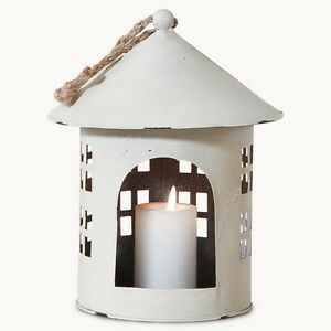 SHABBY-CHIC-HANGING-BIRD-FEEDER-CANDLE-TEALIGHT-HOLDER-WHITE-METAL