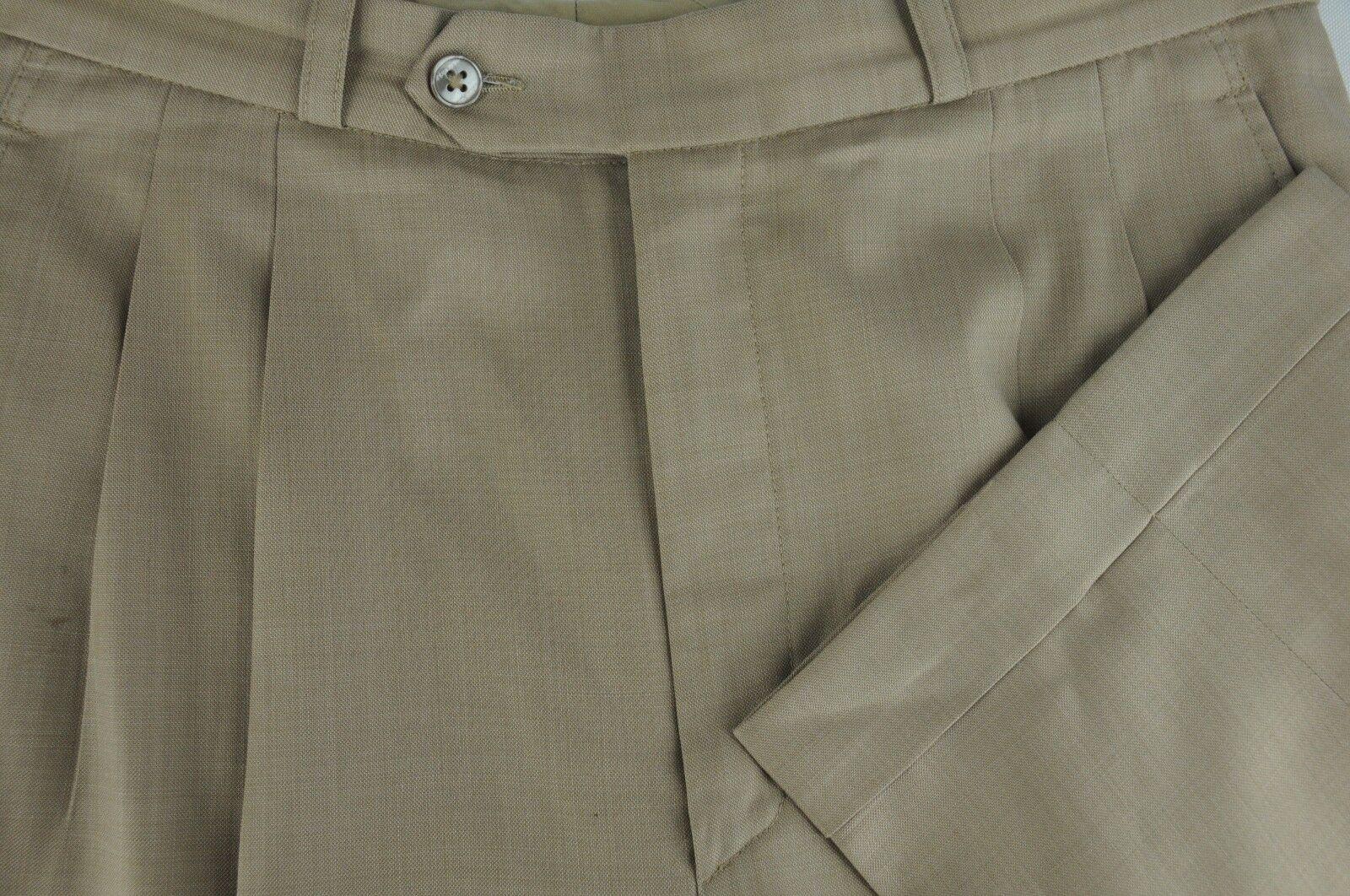 Naxos Herren Luxus Braun Allwetter Wolle Anzughose 32 X 29