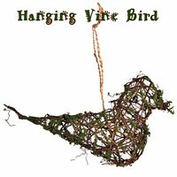 Primitive Grapevine & Moss Covered Bird Twine Hanging Rustic Ornament 8 X 2