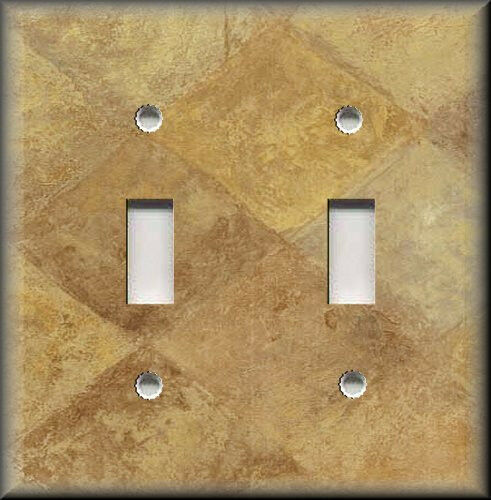 Metal Light Switch Plate Cover - Tuscan Tile Decor Rustic Golden Tan Home Decor