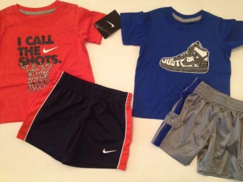Nike Baby Boys Outfit Set Shirt Top Shorts Size 12 Months Grey Navy Blue Orange