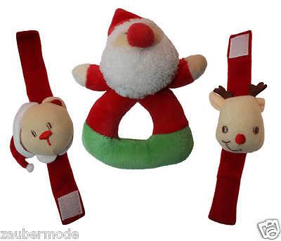 BABYS ERSTES WEIHNACHTEN Ringrassel Handgelenk-Rassel Weihnachtsmann Bär Elch