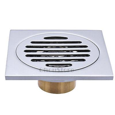 "Chrome 4"" Deodorization Brass Square Bathroom Floor Drain Shower Drainer Grate"
