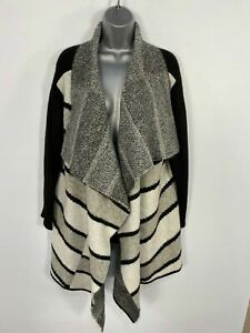 WOMEN-MARKS-amp-SPENCER-BLACK-MIX-STRIPE-KNITTED-OPEN-FRONT-WATERFALL-CARDIGAN-LARGE