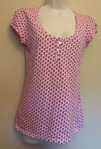 Laura-Ashley-UK10-EU38-US6-pink-and-white-floral-pointelle-cap-sleeved-top
