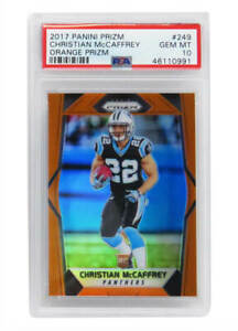 Christian McCaffrey 2017 Panini Prizm #249 ORANGE Prizm RC Card PSA 10 GEM MINT