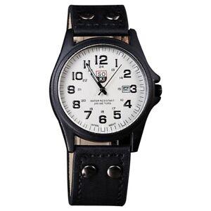 SOKI-Vintage-Classic-Men-039-s-Waterproof-Date-Leather-Strap-Sport-Quartz-Watch-E7I9