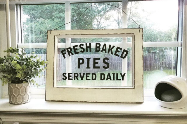 Vintage Pie Sign ~ Old Fashioned Diner Retro Wood & Glass Rustic Kitchen  Decor