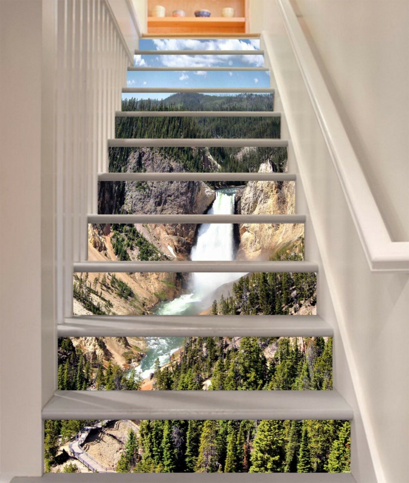 3D Sky Waterfall 2 Stair Risers Decoration Photo Mural Vinyl Decal Wallpaper US