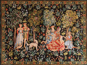 Image Is Loading Gallant Scene Garden Noble Ladies Cavaliers Large Medieval