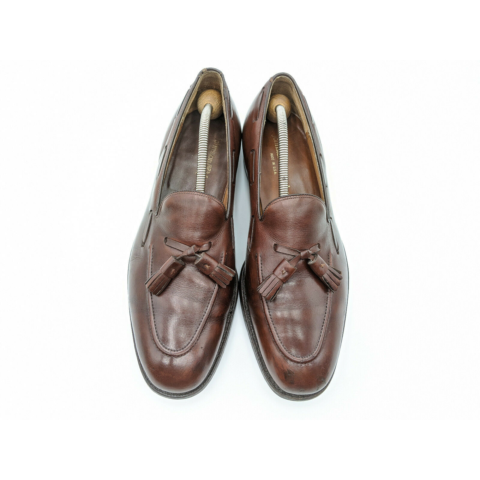 Johnston Murphy USA Brown Leather Apron Toe Tassel Dress Loafers Men 10.5 D / B