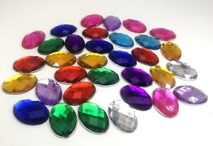 50-Flatback-Acrylic-Rhinestone-Oval-Gem-Beads-18X25mm-No-Hole-Pick-Your-Color