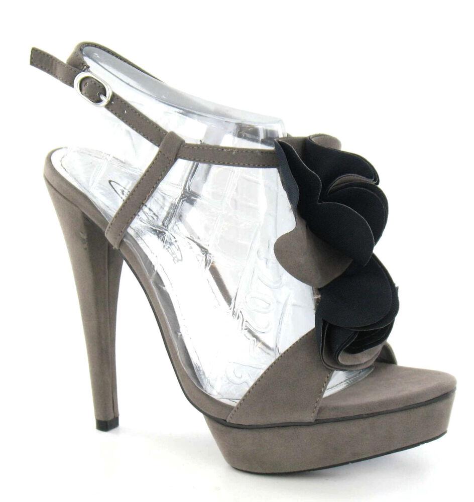 Objectif Spot On F1r735 Femmes Gris Daim Synthétique Volants Plateforme Chaussure (r34b) (kett)