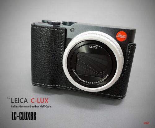 Lim/'S Cámara De Cuero Genuino Funda Medio Placa de Aluminio para Leica C-LUX Negro