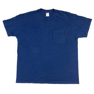 90s-Vtg-XL-USA-Made-Blue-Pocket-Tee-Basic-Blank-Hanes-T-shirt-Single-Stitch