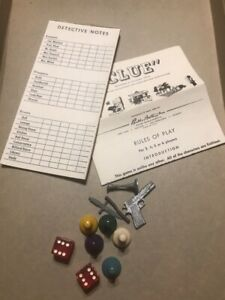 Vintage-1956-CLUE-Board-Game-Parts-Dice-Players-Weapons-Parker-Brothers