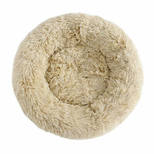 Fur-Round-Donut-Cuddler-Cushion-Bed-Cozy-Sleep-Machine-Washable-Non-Slip-Bottom
