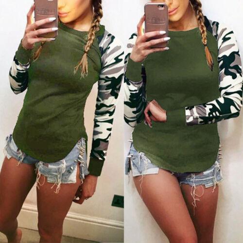 Womens Camo Long Sleeve Casual Sports Baggy T-Shirts Tops Blouse Boho Plus Size