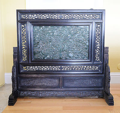 Large  Well  Hand  Carved  Chinese  Spinach  Jade  Insert  Floor  Screen