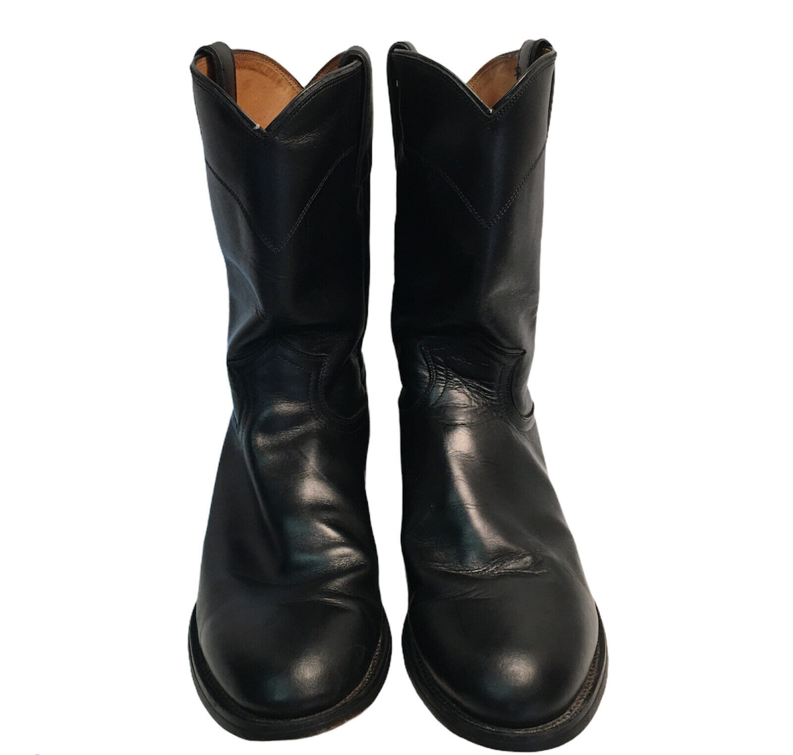 As Is Justin Jackson 3133 Cowboy Boots Western Black Leather Mens Size 10D Moto