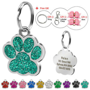Paw-Glitter-Personalised-Dog-Tags-Pet-Cat-Name-ID-Collar-Tag-Engraved-10-Colours