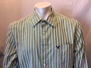 97b78c1ef7 American Eagle Vintage Fit Men's Green White Striped L/S Button Down ...