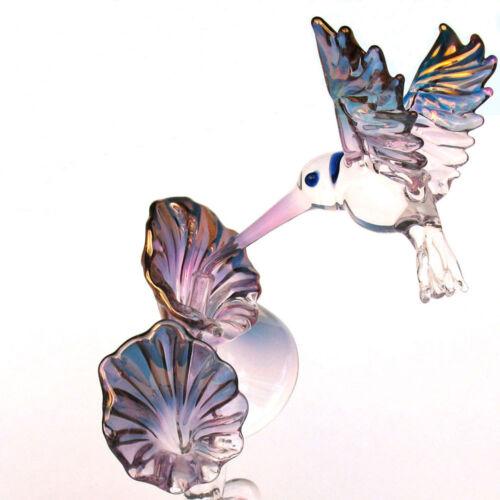 Hummingbird Figurine Sculpture Hand Blown Glass Crystal 24k Gold