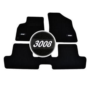 4-TAPIS-SOL-PEUGEOT-3008-A-PARTIR-DE-2009-TOUS-MOQUETTE-LOGO-BLANC-SUR-MESURE