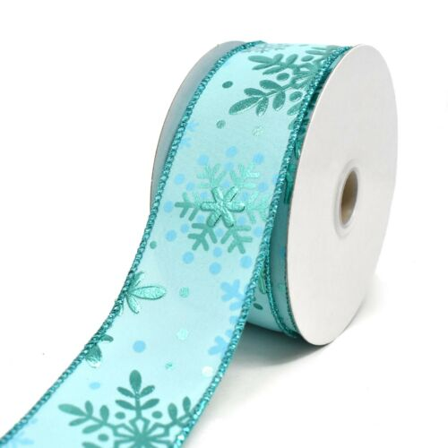 Embossed Snowflake Wired Ribbon 10-Yard 1-1//2-Inch
