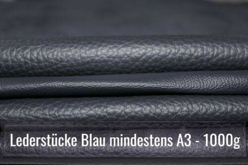1 Kg Lederreste zum Basteln größer A3 Bastelleder blau