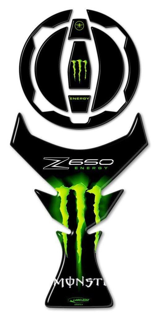 Kit Autocollant 3d Protections R/éservoir Compatible Moto Kawasaki Z650 Carbone
