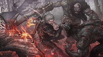 Poster 42x24 cm The Witcher 3 Wild Hunt Geralt De Rivia Ciri Yennefer Cartel 01