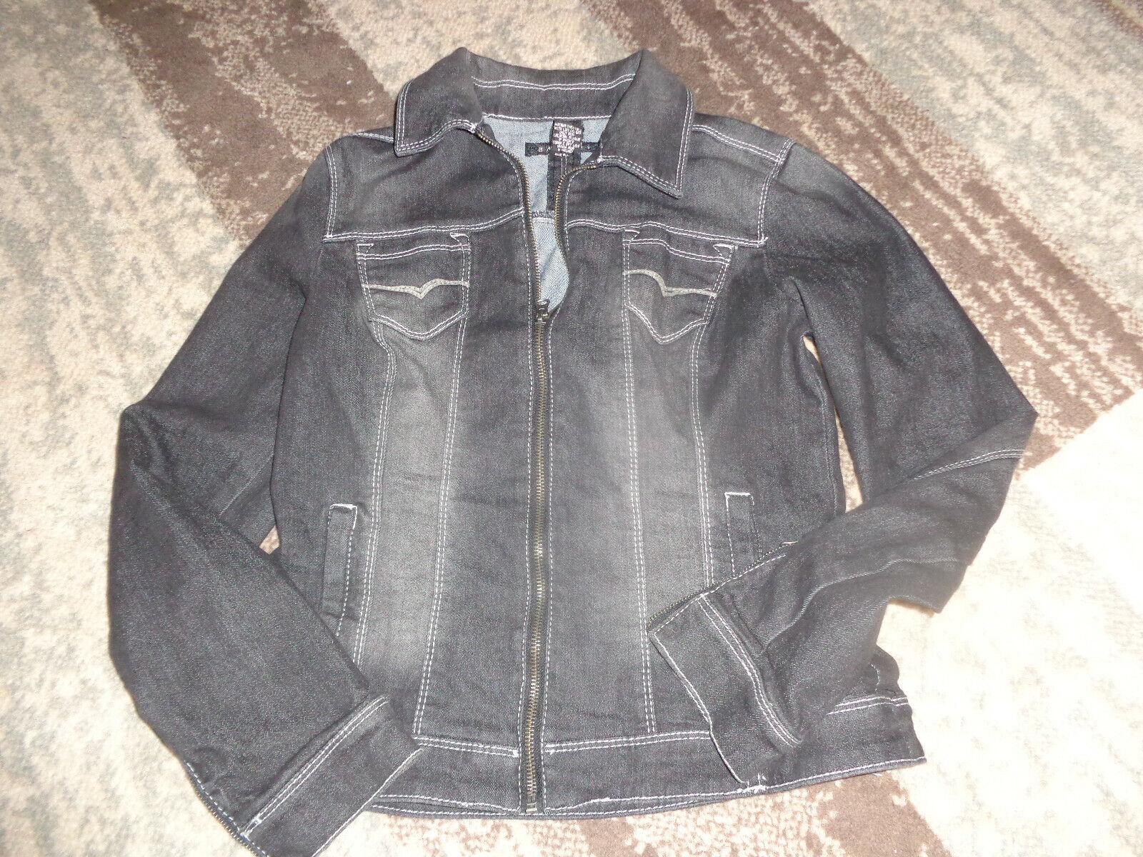 women's jean jacket (black w/white stitching and zippers) size S Baccini EUC